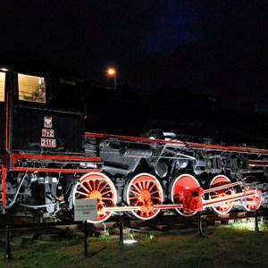 Rozświetlona lokomotywa